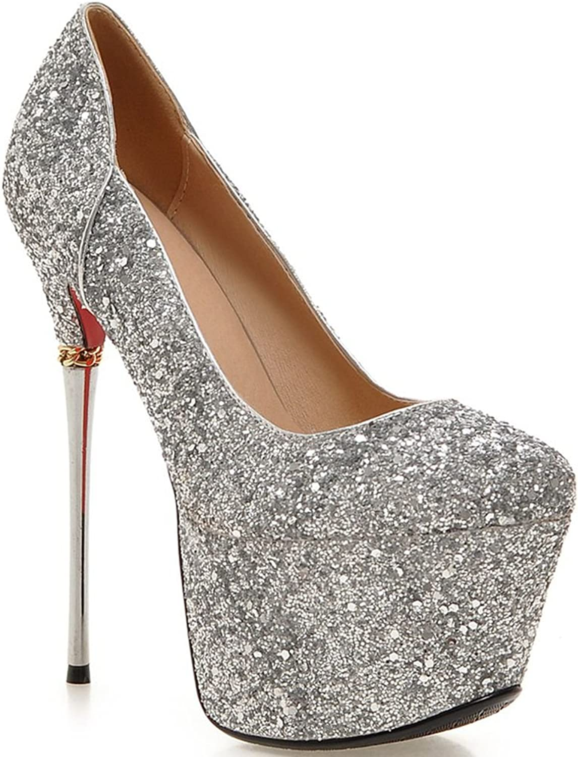 DoraTasia Sexy Ultra High Heeled Shinning Glitter Upper Thick Platform Ankle Wrap Women Pumps shoes