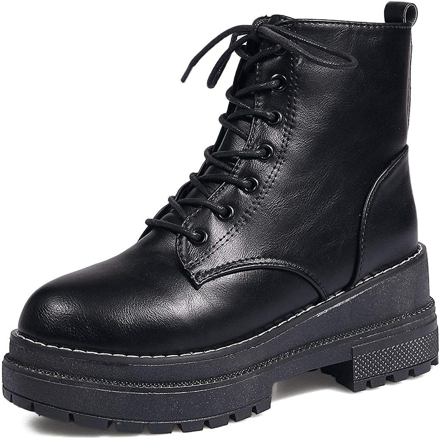 Superb Zone Women shoes Motorcycle Boots New Lace Up Proof Platform Thick Heel Boots Women,Black,5