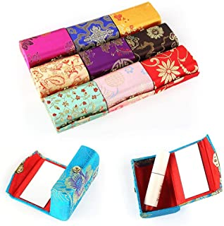 Mini Lipstick Holder Case With Mirror - Double case Womens Silk Travel Makeup Bag with Mirror Brocade Makeup Lippy Jewelry Box (Style 1(Random Color))