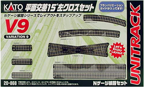 Kato N Scale Unitrack - V9 15 Degree Crossing Left Track Set KA-20-868-1 (japan import)