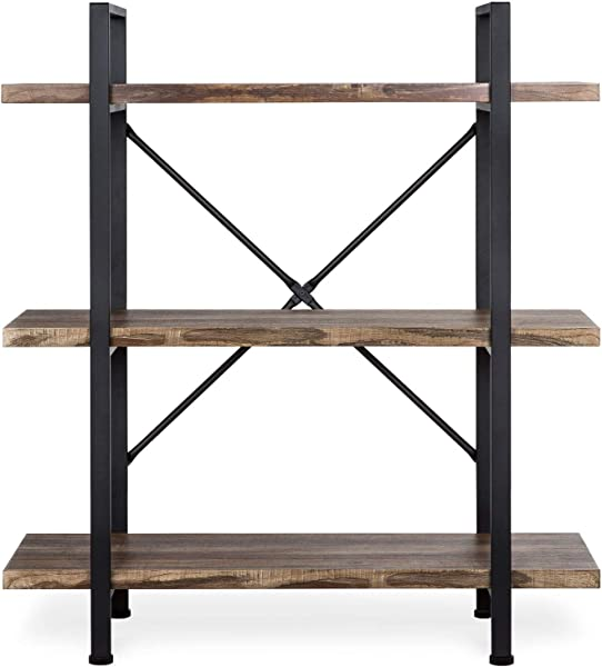 Eosphorus MLBS 3 Shelf Open Bookshelf Furniture With Wood Shelves