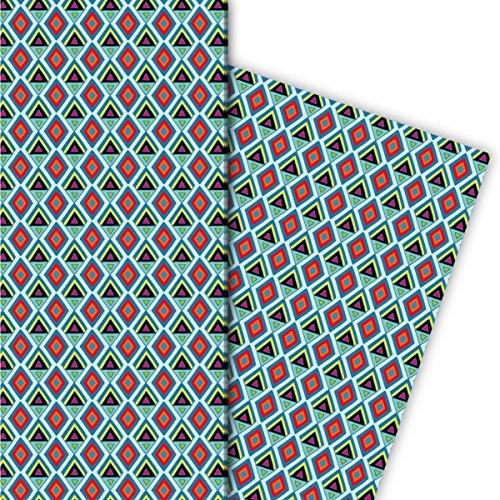 Kartenkaufrausch Batik cadeaupapier set 4 vellen, decoratief papier met geschilderde ruiten, lichtblauw, voor leuke geschenkverpakking, patroonpapier om te knutselen 32 x 48 cm