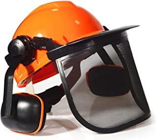 MESTUDIO Industrial Forestry Safety Helmet With Hearing Protection System And Protective Visors, Comfortable Lining And Wire Mesh Mask Heavy Duty Hard Hat