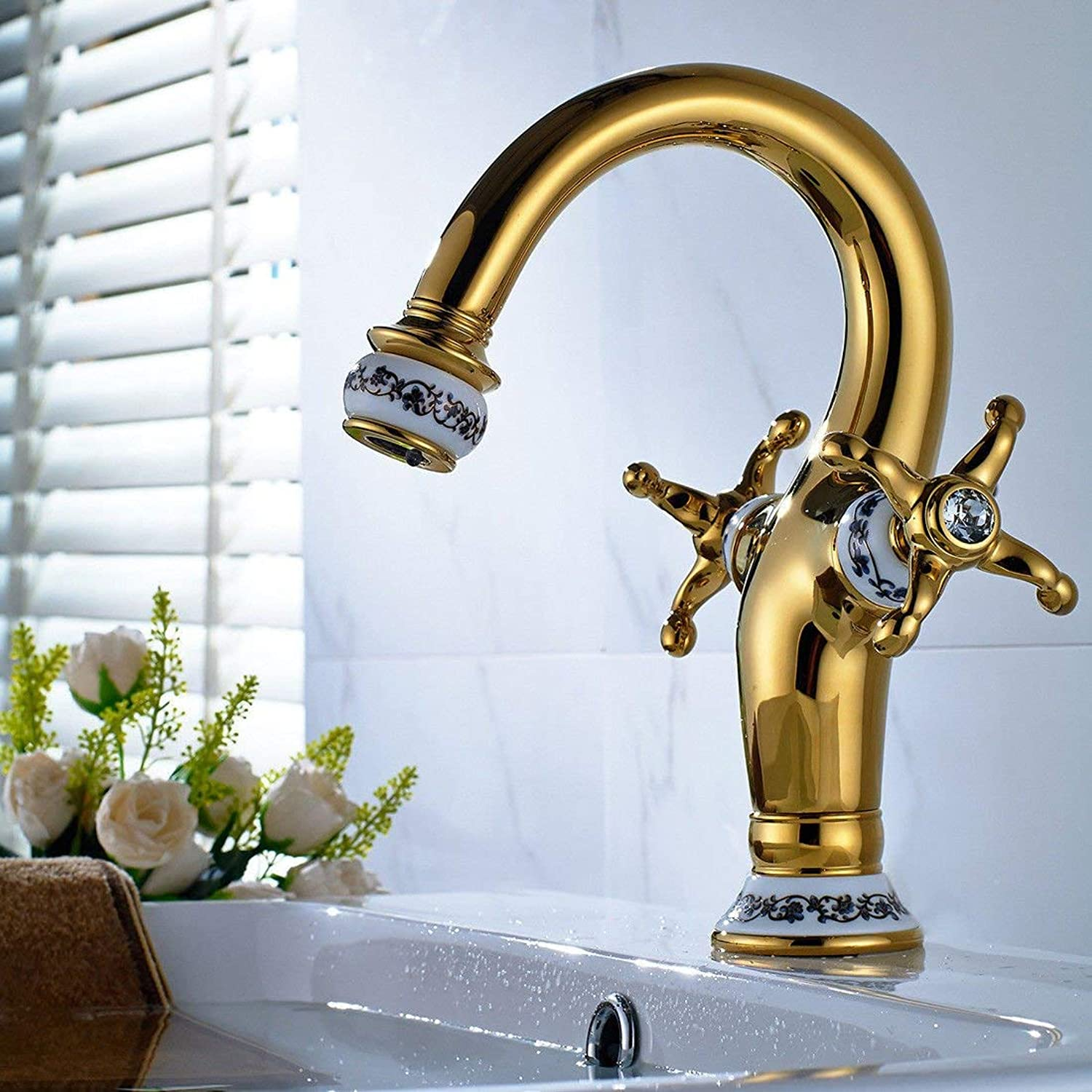 WMING HOME Sink Mixer Tap Bathroom Kitchen Basin Tap Leakproof Save Water Brass gold Plated bluee Led With Both Hands Cold Water golden Kitchen