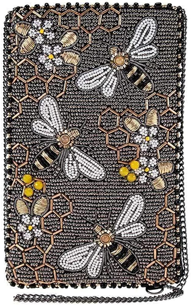 Mary Frances Bee Awesome Beaded Crossbody Phone Bag, Pewter