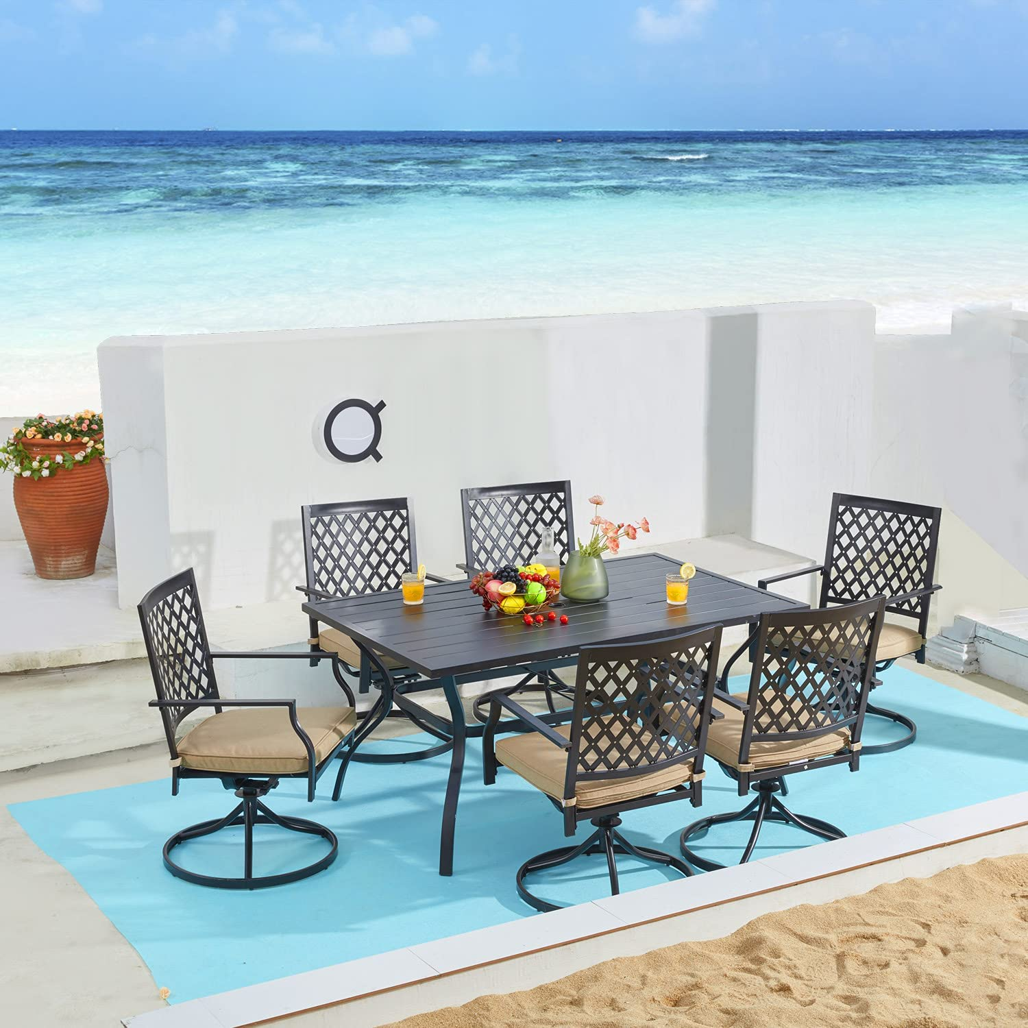 VICLLAX 7 Piece Outdoor Patio Dining Furniture Set- 6 Outdoor Swivel Dining Chairs and 1 Rectangular Outdoor Table Set for Lawn Garden