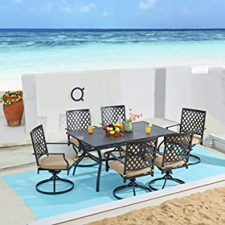 VICLLAX 7 Piece Outdoor Patio Dining Furniture Set- 6 Outdoor Swivel Dining Chairs and 1 Rectangular Outdoor Table Set for...