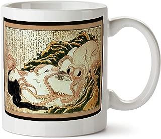 Dream of the Fisherman's Wife Octopus Katsushika Hokusai Japanese Erotic Art Coffee Tea Mug (White)