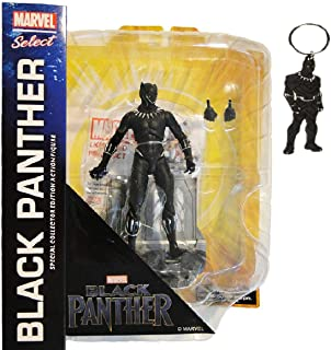 DIAMOND SELECT TOYS Marvel Select: Black Panther Action Figure (Bundle Includes Black Panther PVC Keyring)