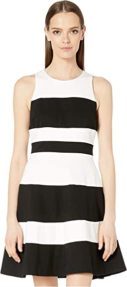 6691fb21661 Kate spade new york knit stripe fit and flare dress black cream ...