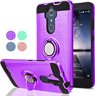 ZTE Max XL/ZTE ZMAX Pro/ZTE Carry/ZTE Imperial Max/Max Duo LTE Phone Case,Ymhxcy 360 Degree Rotating Ring & Bracket Dual Layer Resistant Back Cover for ZTE Z981-ZH Purple
