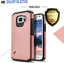 Galaxy S6 Active Case, Samsung Galaxy S6 Active Case, Starshop Hybrid [Shock Absorption] Rugged Impact Advanced Armor Soft Silicone Cover with [ Premium HD Screen Protector Included] (Rose Gold)