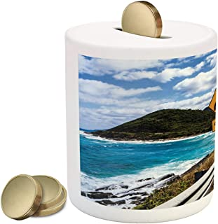 Lunarable Australia Piggy Bank, Yellow Bend and Speed Limit Signs Ocean Shore Road in Victoria Photo, Printed Ceramic Coin Bank Money Box for Cash Saving, Multicolor