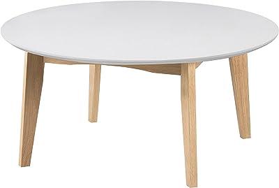 AC Design Furniture Ricky table basse, Bois, Blanc, 90 x 42 cm