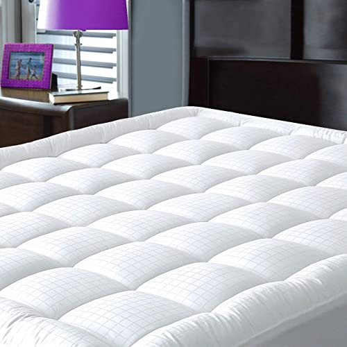 JURLYNE King Mattress Pad Cover - Breathable - Pillow Top Cotton Top Down Alternative Filled Cooling Mattress Topper