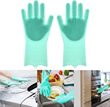 Magic Silicone Dishwashing Gloves with Scrubber (green)