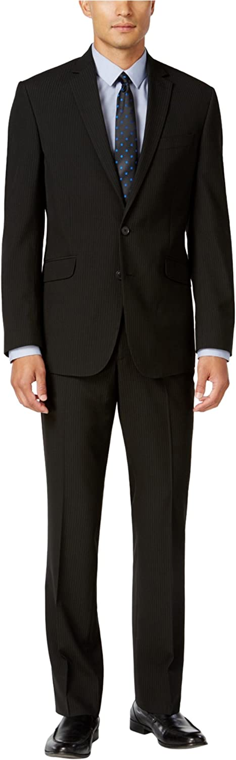 New Kenneth Cole REATCION Black PIN Striped Slim FIT Collection Suit Size 42R