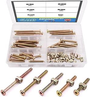 Glarks 100Pcs Zinc Plated M6 Hex Socket Head Cap Screws Bolts Furniture Bolts with Barrel Nuts Assortment Kit - 35mm / 45mm / 55mm / 65mm / 75mm