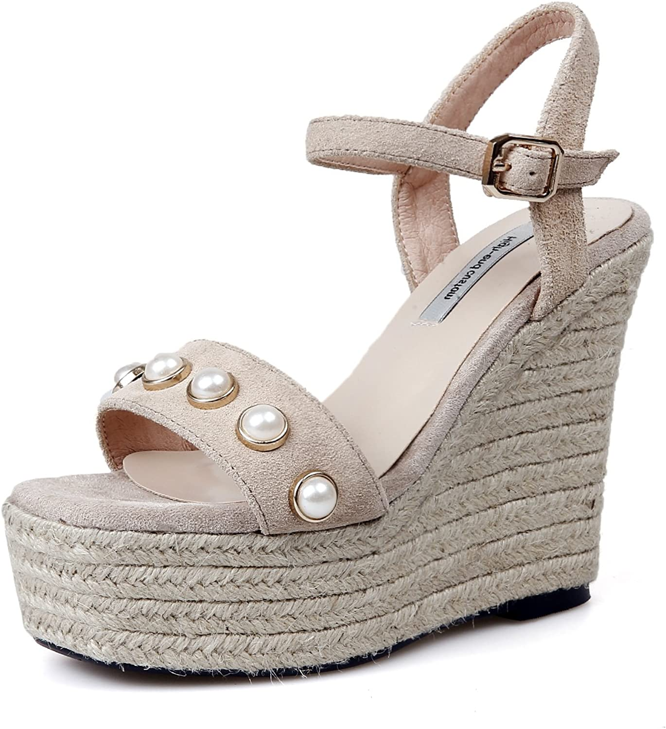 AnMengXinLing Platforms Sandals Women's Wedges Sandals with Pearls High Platform Open Toe Ankle Strap shoes