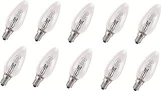 Lot de 10 ampoules halogènes Eco - 28 W = 37 W/40 W - E14 - Transparentes - 2000 h - Blanc chaud - Intensité variable