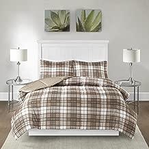 Madison Park Essentials Parkston 3M Scotchgard Stain Release Plaid Down Alternative Comforter Mini Set, King/Cal King, Tan