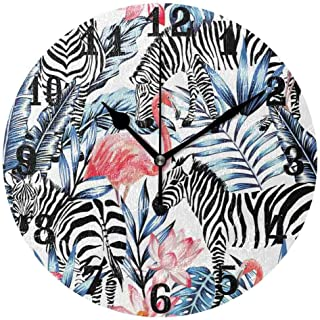 PICOM99 Wall Clock, Tropical Zebra Flamingo Flower Leaves Silent Non Ticking Clock Bedroom Living Room Kitchen Home Decor Art Painting Clock For Kids Desk Clock 10in