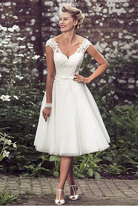 Buy Short Lace Wedding Dresses Knee Length Travel Tulle ...