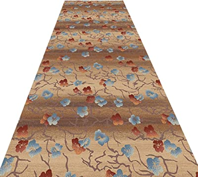 HAIPENG Floral Design Hallway Runner Entryway Rug Easy to Clean Entrance Mat Non Skid Backed Carpet Customized Contemporary (Color : A, Size : 0.9x3m)