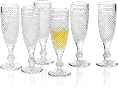 G Chroma Champagne Flutes set of 6, 5.1 oz Clear Stem-ware Premiun Glass for Refreshments Bubble Wine Soda Juice Perfect for Dinner Parties Bars Restaurants