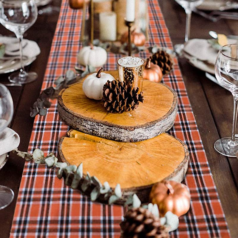 O Heart Halloween Table Runner Buffalo Plaid Check Table Runner Waterproof Cotton Burlap Table Cover For Halloween Family Dinner Party Decoration Everyday Use 14x108 Inch
