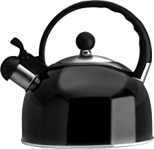 2.5 Liter Whistling Tea Kettle - Modern Stainless Steel Whistling Tea Pot for Stovetop with Cool Grip Ergonomic Handle - Black