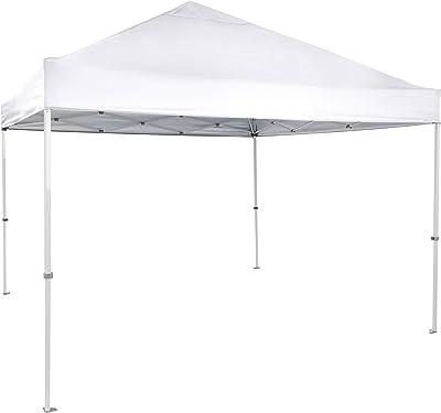 Amazon Basics Outdoor One-push Pop Up Canopy, 9ft x 9ft Top Slant Leg with Wheeled Carry, White