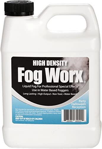 FogWorx Extreme High Density Fog Juice - Long Lasting, High Output, Odorless Water Based Fog Machine Fluid - 1 Quart,...