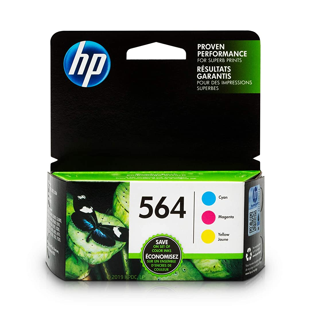 HP 564 Ink Cartridges: Cyan Magenta & Yellow 3 Ink Cartridges (CB318WN CB319WN CB320WN) for HP Deskjet 3520 3521 3522 3526 HP Officejet 4610 4620 4622 HP Photosmart: 5510 5512 5514 5515 5520 5525 nos47359377