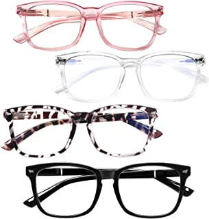 4 Pack Computer Reading Glasses Women Men Spring Hinge...