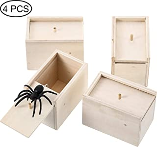 4 Pieces Spider Prank Scare Box, Wooden Surprise Box, Practical Handmade Fun Surprise Joke Boxes