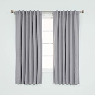 Best Home Fashion Basic Thermal Insulated Blackout Curtains - Back Tab/Rod Pocket - Grey - 52