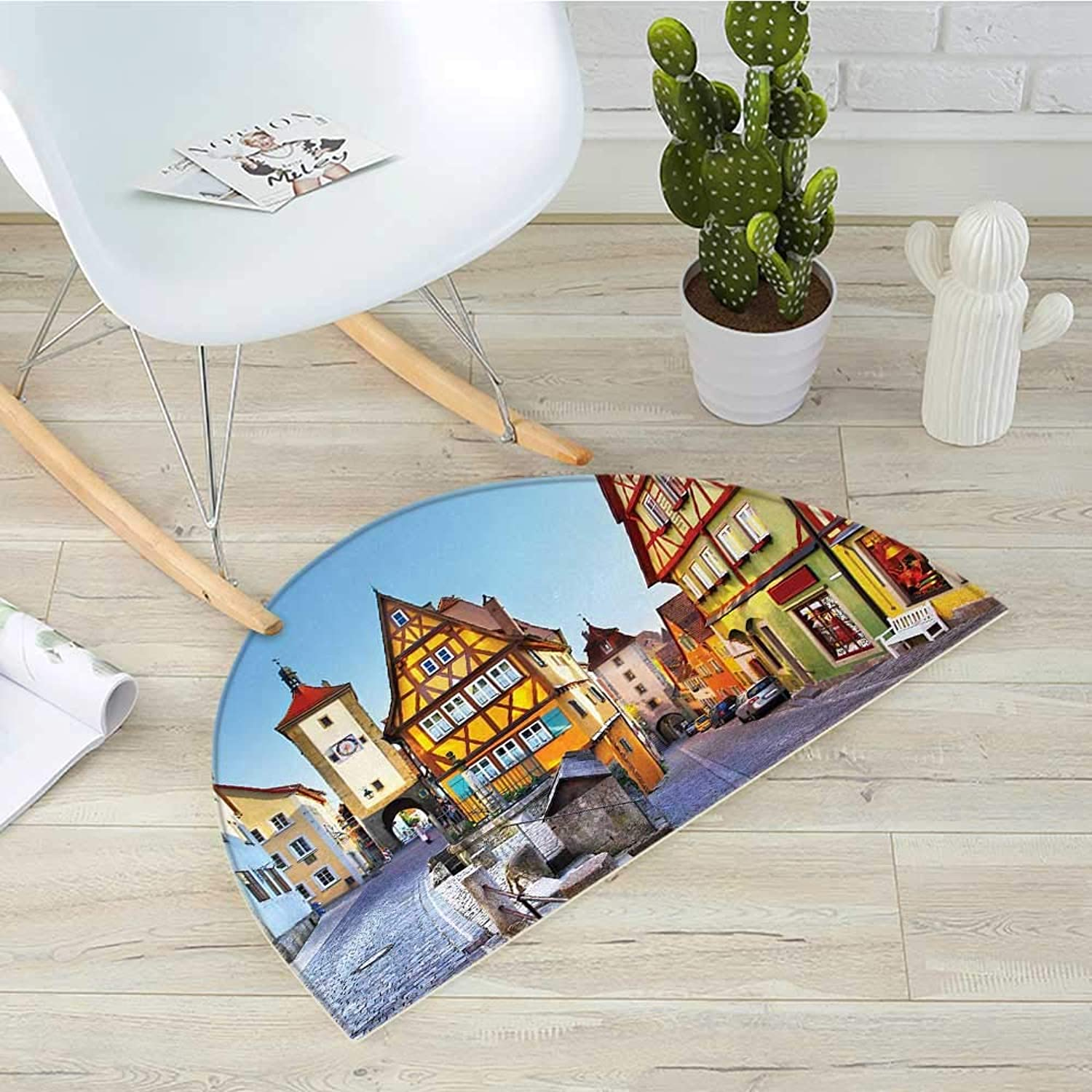 German Semicircular Cushionredhenburg ob der Tauber Bavaria Germany Famous Street with colorful Classic Houses Entry Door Mat H 43.3  xD 64.9  Multicolor