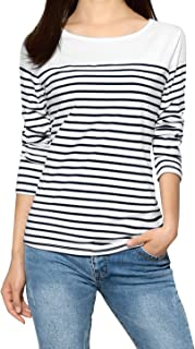 Women's Color Block Striped Knit Tops Round Neck Long Sleeves T Shirts