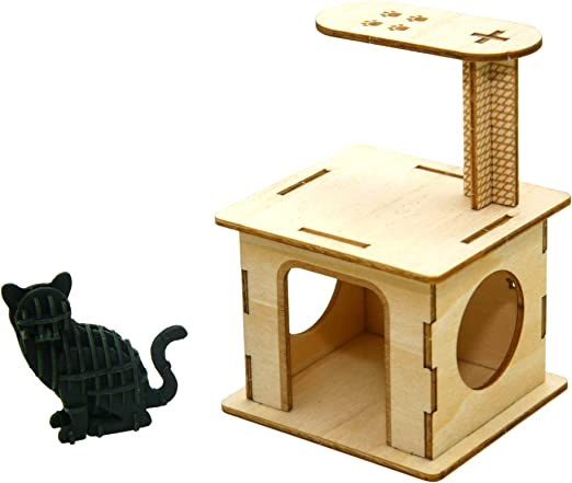 Playing Cat Team Green JIGZLE Paper 3D Puzzle Pets Collection Miniature Animal Craft Kit