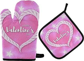 GOSMAO Gants de Four,Gants de Barbecue Résistant à Chaleur 2 Paire et 1 Maniques, Valentine Romantique Fille Rose,Anti-Pat...