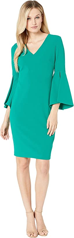 V-Neck Solid Bell Big Sleeve Shift Dress