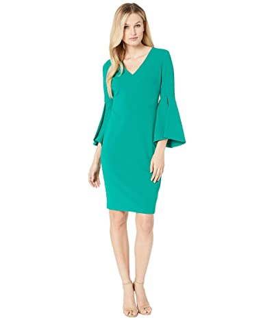 Calvin Klein V-Neck Solid Bell Big Sleeve Shift Dress (Meadow) Women