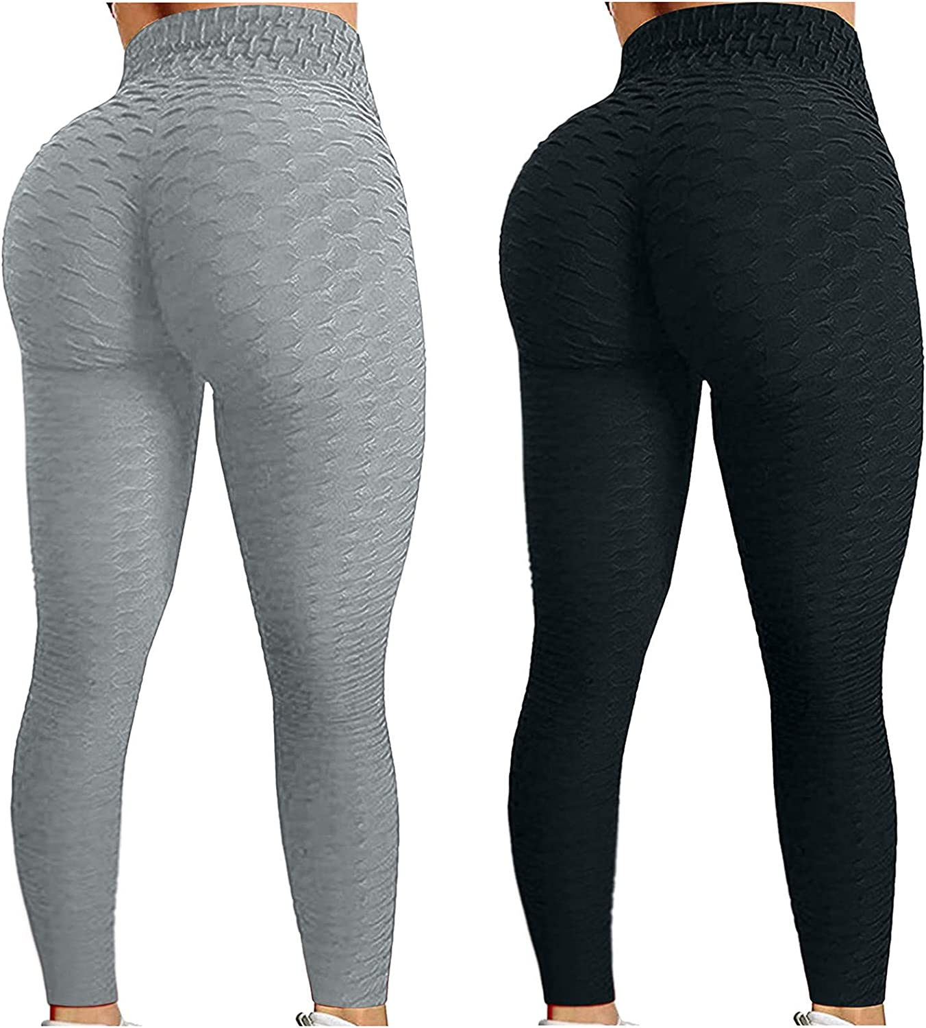 Auwer 2PC Women's High Waist Yoga Pants Tummy Control Workout Ruched Butt Lifting Stretchy Leggings Textured Booty Tights