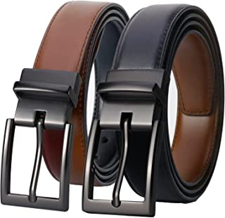 Lavemi Mens Belt Reversible 100% Italian Leather Dress Casual,One Reverse for 2 Colors,Trim to Fit