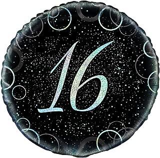 """Unique Glitz  Happy 16 Birthday Prismatic Foil Balloon, Black and Silver, 45cm (18"""")"""
