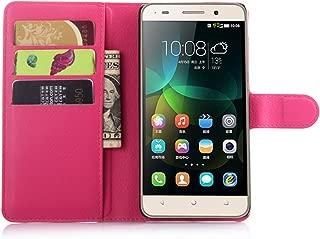 Ycloud Funda Libro para Huawei G Play Mini (Honor 4C), Suave PU Leather Cuero con Flip Cover, Cierre Magnético, Función de Soporte,Billetera Case con Tapa para Tarjetas + 1x Lápiz óptico (Rose Red)