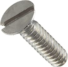 Stainless Steel Machine Screw, Plain Finish, Flat Head, Slotted Drive, Meets ASME B18.6.3, 0.0625
