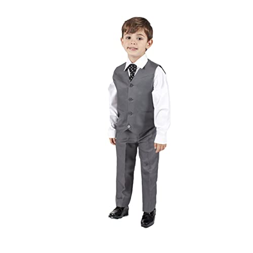 f885252e77fe1 Romario Boys Grey 4 Piece Waistcoat Suit