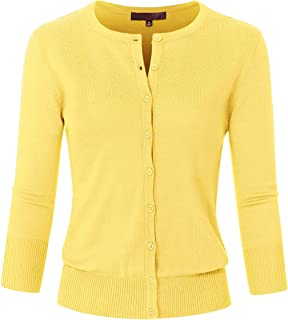 JSCEND Women's 3/4 Sleeve Crew Neck Button Down Stretch Knit Cardigan Sweater (S-3XL)